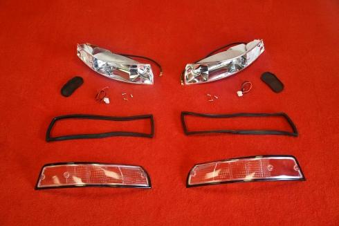 Blinker Komplett Set für Porsche 911 69-73 (Weiß / Schwarz) - Paar