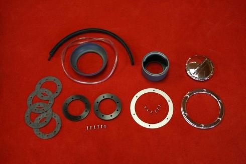 Fuel neck filler kit for 914 with screwable trim polished