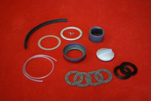 Fuel neck filler kit for 914 with screwable trim silver painted